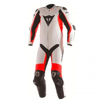 Leather Motorcycle Suits Dainese D-Air Racing Misano White Fluo Red Black