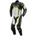 Leather Motorcycle Suits Alpinestars Motegi Suit Black White Yellow Fluo