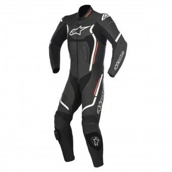 Leather Motorcycle Suits Alpinestars Motegi V2 Black White Red Fluo