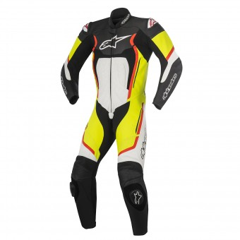 Leather Motorcycle Suits Alpinestars Motegi V2 Black White Yellow Red Fluo