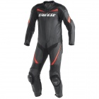 Leather Motorcycle Suits Dainese Racing P. Black Red Fluo