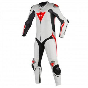 Leather Motorcycle Suits Dainese Tuta Mugello R D-Air Black White Fluo Red
