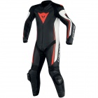 Leather Motorcycle Suits Dainese Assen 1PC Perf Black White Red Fluo