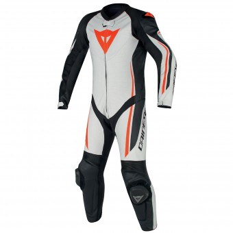 Leather Motorcycle Suits Dainese Assen 1PC Perf White Black Red Fluo