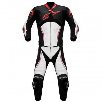 Leather Motorcycle Suits Alpinestars Atem Suit 2PC Black White Red