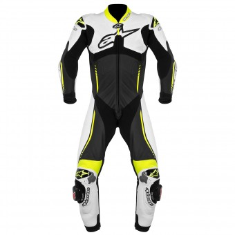 Leather Motorcycle Suits Alpinestars Atem Suit Black White Yellow Fluo