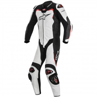 Leather Motorcycle Suits Alpinestars GP PRO Tech Air Bag Compatible White Black Red
