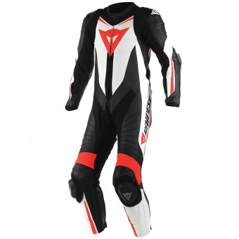 Leather Motorcycle Suits Dainese Laguna Seca D1 1 PC. Perforated Black Red Fluo