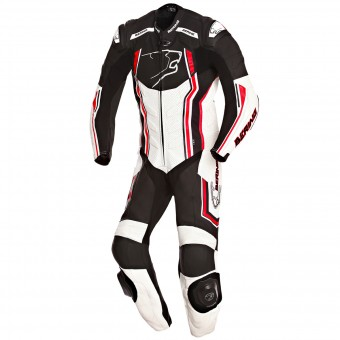 Leather Motorcycle Suits Bering Supra-R Black White Red