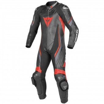 Leather Motorcycle Suits Dainese Trickster Evo P. C2 Estiva Black Red Fluo