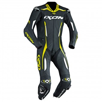 Leather Motorcycle Suits Ixon Vortex EPI Black White Yellow