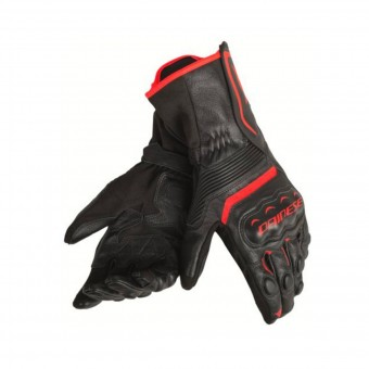 Motorcycle Gloves Dainese Assen Black Fluo Red