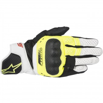 Motorcycle Gloves Alpinestars SP-5 Black Yellow Fluo White