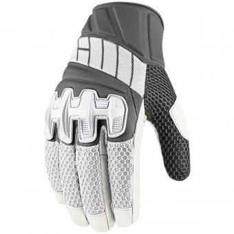 Motorcycle Gloves ICON Overlord Mesh White