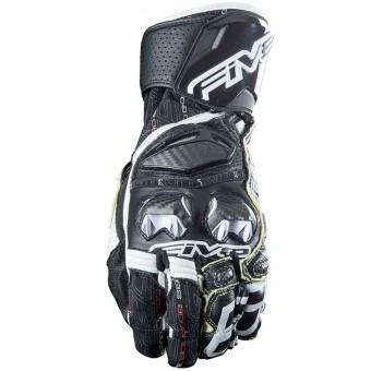 Motorcycle Gloves Five RFX Race Black White