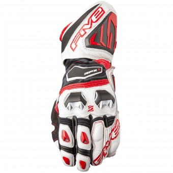 Motorcycle Gloves Five RFX1 White Red