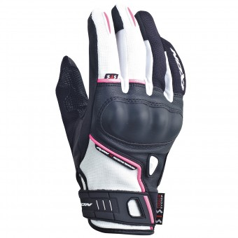 Motorcycle Gloves Ixon RS Grip Lady HP Black White Fushia