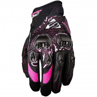Motorcycle Gloves Five Stunt Evo Replica Woman Flower Pink