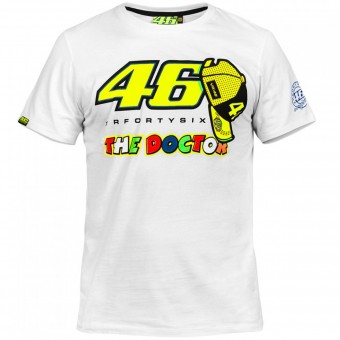 Motorcycle T-Shirts VR 46 T-Shirt White Yellow VR46