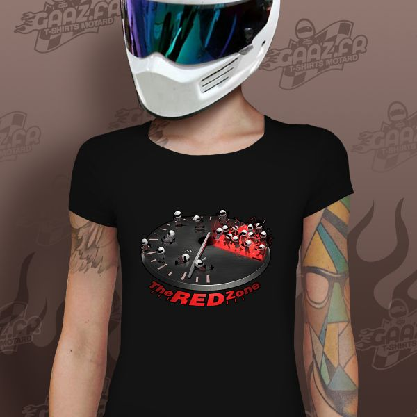 Motorcycle T-Shirts Gaaz The Red Zone Woman (Black)