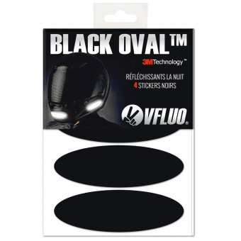 VFLUO Black Oval stickers - Reflective kit for motorcycle helmet