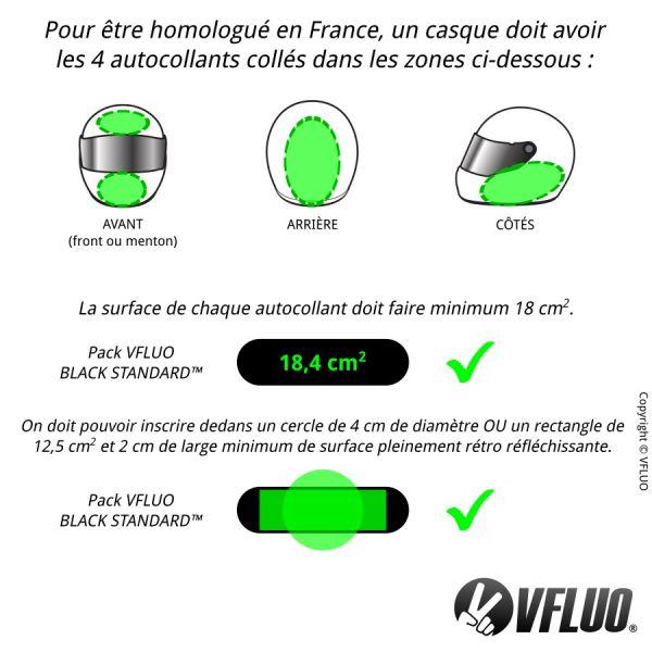 VFLUO Black Standard Stickers - Reflective kit for motorcycle helmet