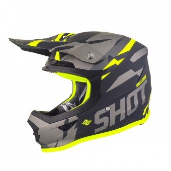 Casque Motocross SHOT Furious Score Grey Neon Matt Yellow