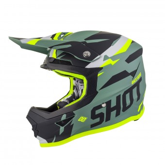 Casque Motocross SHOT Furious Score Kaki Neon Matt Yellow