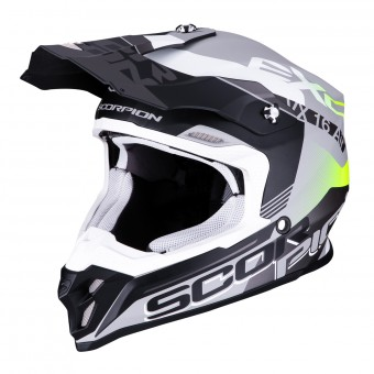 Casque Motocross Scorpion VX-16 Air Arhus Matt Silver Black Yellow Fluo