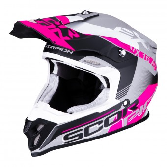Casque Motocross Scorpion VX-16 Air Arhus Matt Silver Black Rose