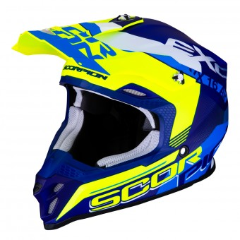 Casque Motocross Scorpion VX-16 Air Arhus Matt Blue Yellow Fluo