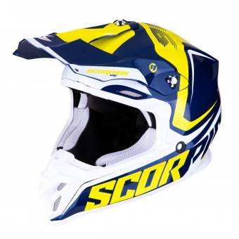 Casque Motocross Scorpion VX-16 Air Ernee Blue Yellow White