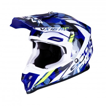 Casque Motocross Scorpion VX-16 Air Waka Black White Blue
