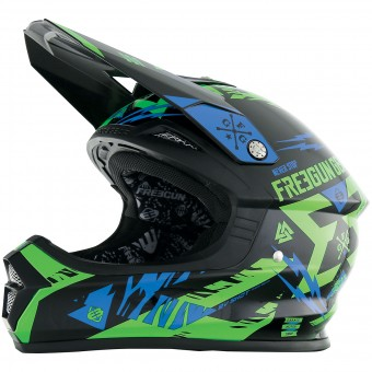 Casque Motocross Freegun XP-4 Trooper Neon Green Blue
