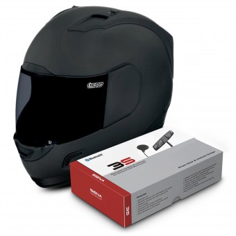Casque Full Face ICON Alliance Dark + Sena 3S Bluetooth Kit
