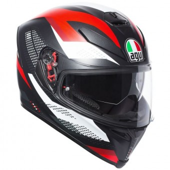 Casque Full Face AGV K-5 S Marble Matt Black White Red