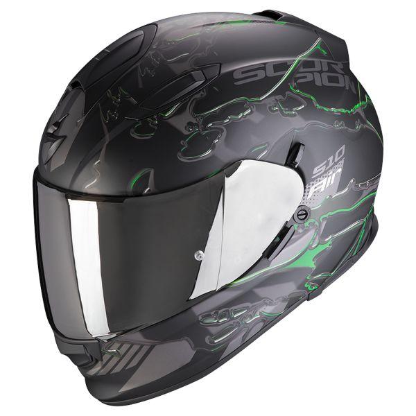Full Face Scorpion Exo 510 Air Likid Matt Black Green