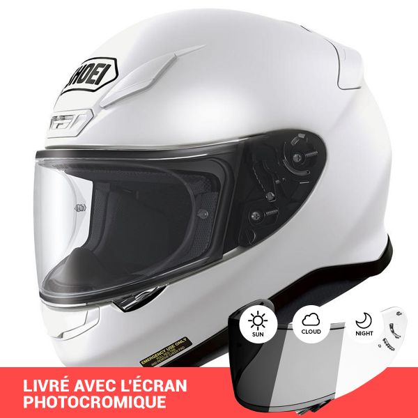 Full Face Shoei NXR White + Photocromic Visor