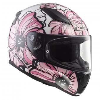 Casque Full Face LS2 Rapid Poppies White Pink FF353