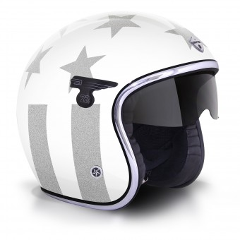 Casque Open Face GPA Carbon Solar America White