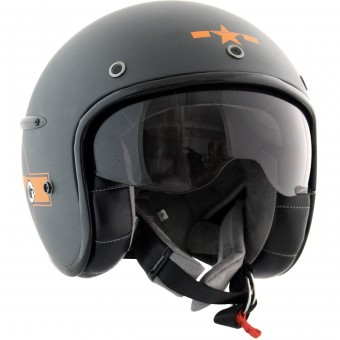 Casque Open Face HARISSON Corsair Star Deco Grey Mat Orange