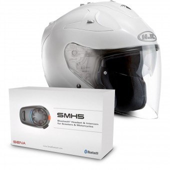 Casque Open Face HJC FG-Jet White + Sena SMH5 Bluetooth Kit