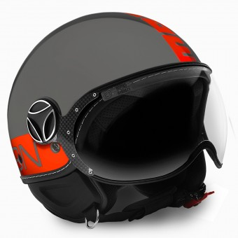 Casque Open Face Momo Design FGTR Grey Orange Fluo