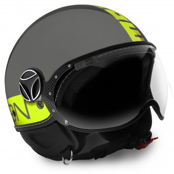 Casque Open Face Momo Design FGTR Grey Yellow Fluo