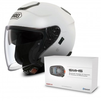 Casque Open Face Shoei J-Cruise White + Sena SMH5 Bluetooth Kit