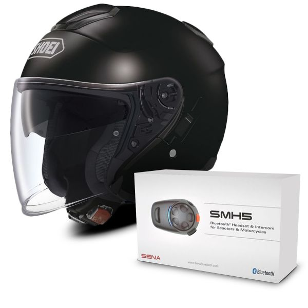 d81bdceb Helmet Shoei J-Cruise Black + Sena SMH5 Bluetooth Kit at the best ...