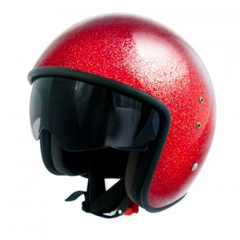 Casque Open Face Up Smart Glitter Red
