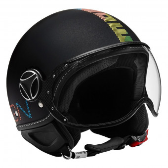 Casque Open Face Momo Design FGTR Pixel Metal Black Mat