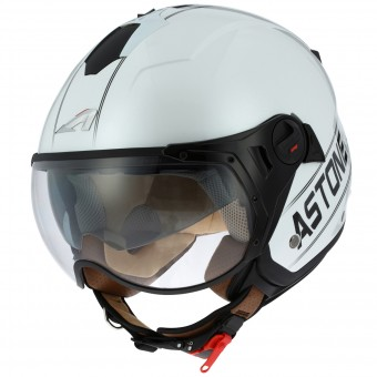 Casque Open Face Astone Minijet Sport Cooper White Black