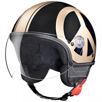 Casque Open Face Moschino Peace And Love Black Gold